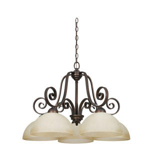 Provano Five-Light Tique Bronze Chandelier with Domed Buttercup Glass