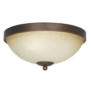 Provano Two-Light Tique Bronze Flush Mount with Buttercup Glass