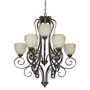 Provano Nine-Light Tique Bronze Chandelier with Buttercup Glass