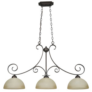 Provano Three-Light Tique Bronze Island Pendant with Buttercup Glass