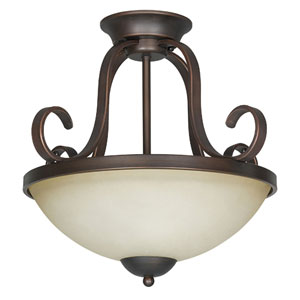 Provano Two-Light Tique Bronze Semi-Flush with Buttercup Glass