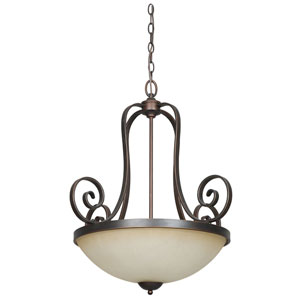 Provano Three-Light Large Tique Bronze Bowl Pendant with Buttercup Glass
