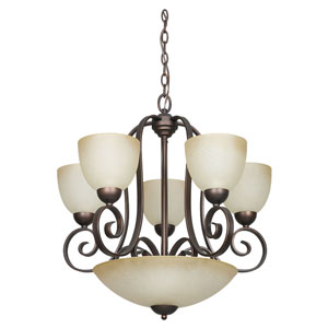 Provano Eight-Light Tique Bronze Chandelier with Buttercup Glass