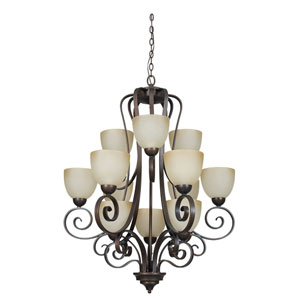 Provano Twelve-Light Tique Bronze Chandelier with Buttercup Glass