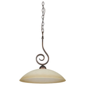 Provano One-Light Tique Bronze Pendant with Buttercup Glass