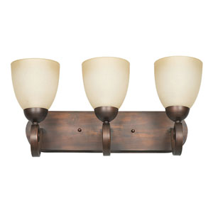 Provano Three-Light Tique Bronze Vanity Fixture with Buttercup Glass
