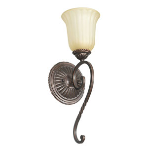 Graham One-Light Mahogany Bronze Sconce with Sandlewood Glass