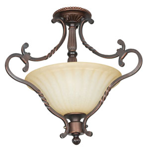 Graham Two-Light Mahogany Bronze Semi-Flush with Sandlewood Glass