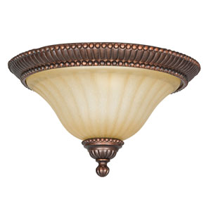 Graham Two-Light Mahogany Bronze Flush Mount with Sandlewood Glass