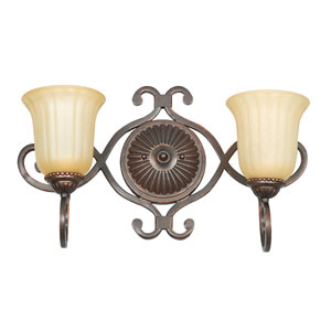 Graham Two-Light Mahogany Bronze Vanity Fixture with Sandlewood Glass