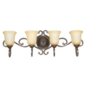 Graham Four-Light Mahogany Bronze Vanity Fixture with Sandlewood Glass
