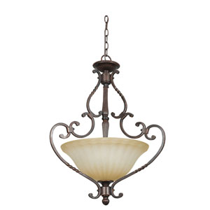 Graham Three-Light Mahogany Bronze Bowl Pendant with Sandlewood Glass