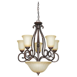Graham Eight-Light Mahogany Bronze Chandelier with Sandlewood Glass