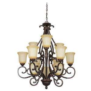 Graham Twelve-Light Mahogany Bronze Chandelier with Sandlewood Glass