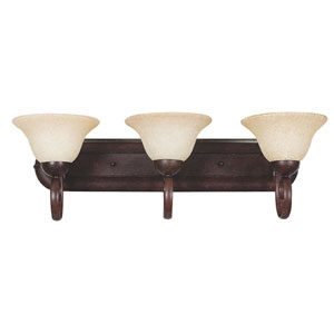 Venice Three-Light Rubbed Bronze Vanity Fixture with Turismo Glass