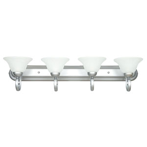 Venice Four-Light Satin Nickel Vanity Fixture with Linen Glass