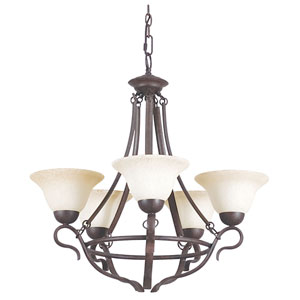 Venice Five-Light Rubbed Bronze Chandelier with Turismo Glass