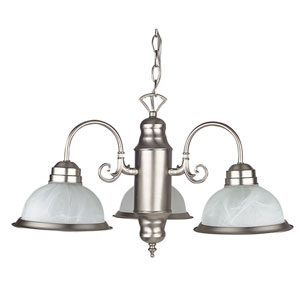 Three-Light Satin Nickel Chandelier with Faux Alabaster Glass with Satin Nickel Trim