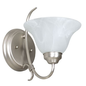 Madrid One-Light Satin Nickel Wall Sconce with Faux Alabaster Glass