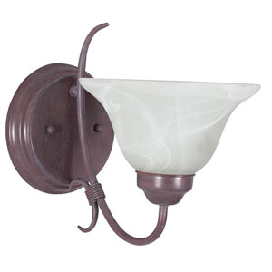 Madrid One-Light Rubbed Bronze Wall Sconce with Faux Alabaster Glass