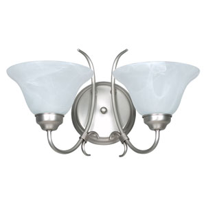 Madrid Two-Light Satin Nickel Wall Sconce with Faux Alabaster Glass