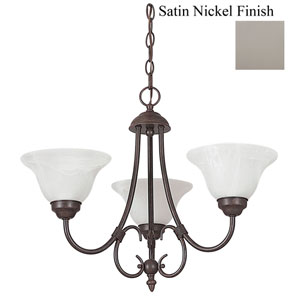 Madrid Three-Light Satin Nickel Chandelier with Faux Alabaster Glass