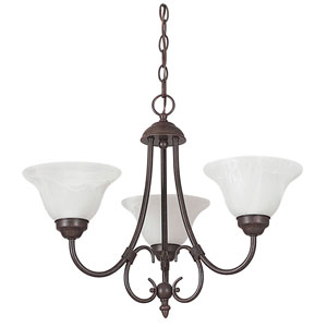 Madrid Three-Light Rubbed Bronze Chandelier with Faux Alabaster Glass