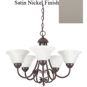 Madrid Five-Light Satin Nickel Chandelier with Faux Alabaster Glass