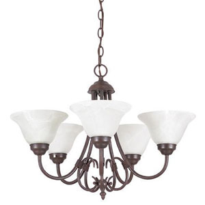 Madrid Five-Light Rubbed Bronze Chandelier with Faux Alabaster Glass