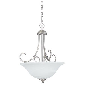 Madrid Three-Light Satin Nickel Bowl Pendant with Faux Alabaster Glass