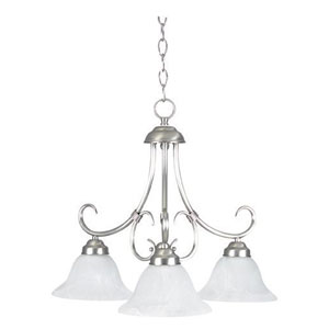 Madrid Three-Light Satin Nickel Down Chandelier with Faux Alabaster Glass