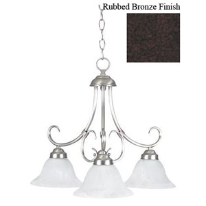 Madrid Three-Light Rubbed Bronze Down Chandelier with Faux Alabaster Glass