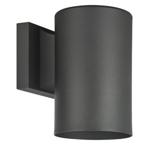 Architectural Outdoor Fluorescent One-Light Black Aluminum Round Outdoor Wall Sconce