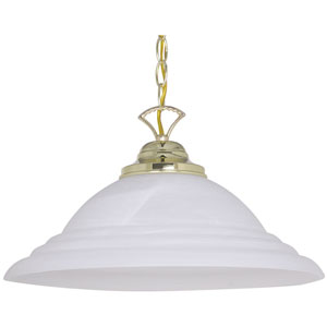 One-Light Polished Brass Pendant with Faux Alabaster Glass