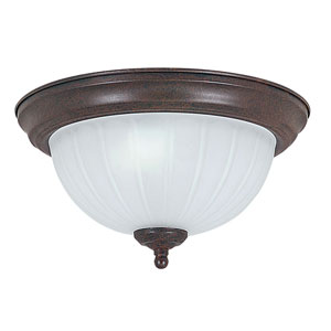 Two-Light Rubbed Bronze Flush Mount with Frosted Melon Glass