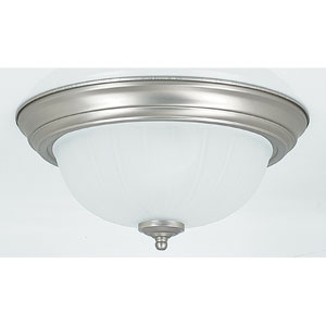 Two-Light Satin Nickel Flush Mount with Frosted Melon Glass