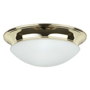Twist-On Flush Mounts Two-Light Polished Brass Flush Mount with Easy-Twist-On Satin Opal Glass