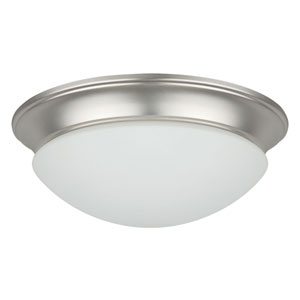 Twist-On Flush Mounts Three-Light Satin Nickel Flush Mount with Easy-Twist-On Satin Opal Glass