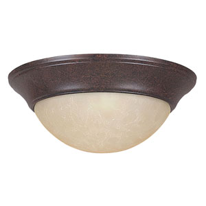Twist-On Flush Mounts 12-Inch Two-Light Rubbed Bronze Flush Mount with Twist-On Tea Stained Glass