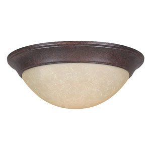 Twist-On Flush Mounts Three-Light Rubbed Bronze Flush Mount with Twist-On Tea Stained Glass