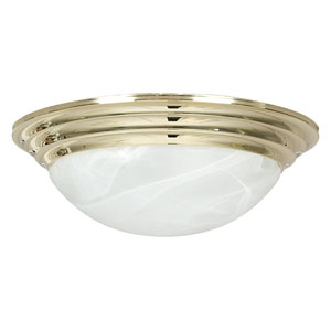 Twist-On Flush Mounts Two-Light Polished Brass Flush Mount with Twist-On Faux Alabaster Glass
