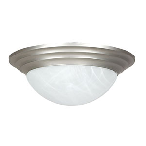 Twist-On Flush Mounts 12-Inch Two-Light Satin Nickel Flush Mount with Twist-On Faux Alabaster Glass