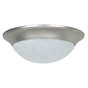 Twist-On Flush Mounts 14-Inch Two-Light Satin Nickel Flush Mount with Twist-On Faux Alabaster Glass