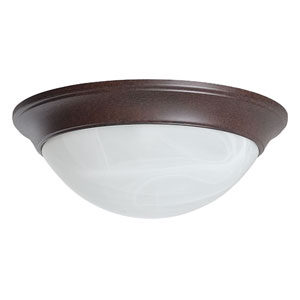 Twist-On Flush Mounts Three-Light Rubbed Bronze Flush Mount with Twist-On Faux Alabaster Glass