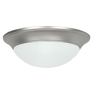Twist-On Flush Mounts Two-Light Satin Nickel Flush Mount with Twist-On Satin Opal Glass