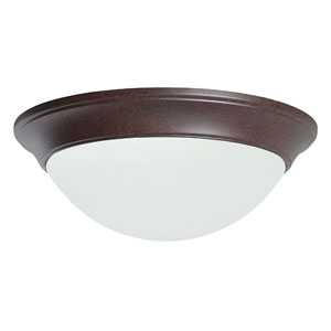 Twist-On Flush Mounts Three-Light Rubbed Bronze Flush Mount with Twist-On Satin Opal Glass