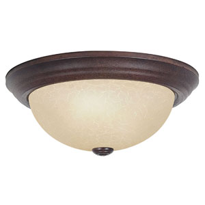 Three-Light Rubbed Bronze Flush Mount with Tea Stained Glass