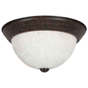 Palisades 11-Inch Two-Light Rubbed Bronze Flush Mount with Turismo Glass