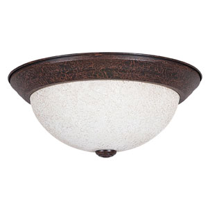 Palisades 13-Inch Two-Light Rubbed Bronze Flush Mount with Turismo Glass