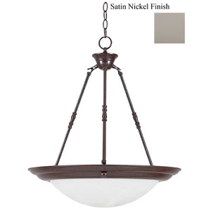 20-Inch Three-Light Satin Nickel Bowl Pendant with Faux Alabaster Glass